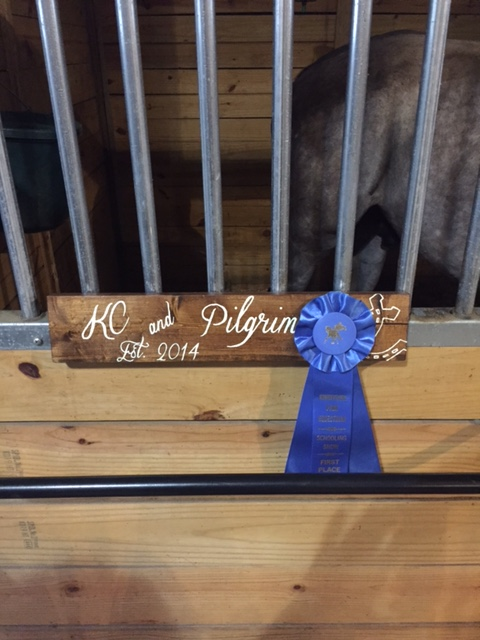 Stall sign and ribbon